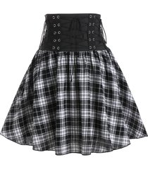 plaid print lace-up high waisted skirt