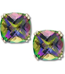 14k gold earrings, cushion cut mystic topaz stud earrings (9-1/2 ct. t.w.)