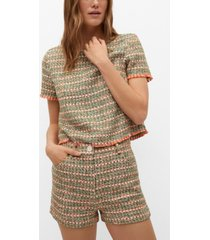 mango combined tweed shorts