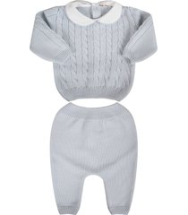 little bear light blue babyboy suit with cable knit