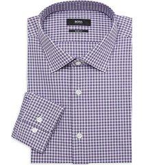 sharp-fit plaid dress shirt