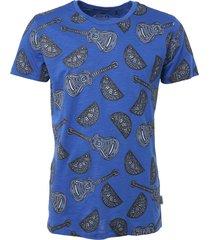 t-shirt, s/s, r-neck, allover print cobalt