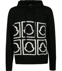 moncler hooded logo knit sweater