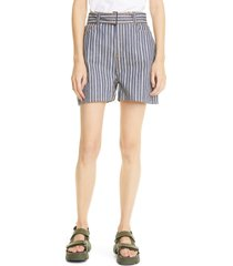 women's ganni mixed stripe denim shorts, size 25 - blue