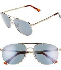 women's persol 60mm aviator sunglasses - gold/ gold/ blue