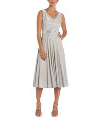 r & m richards metallic fit & flare dress