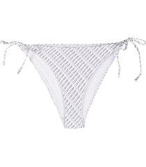calvin klein diagonal logo bikini bottoms - white