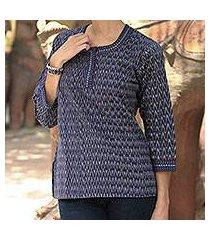 cotton tunic, 'blue flame' (india)