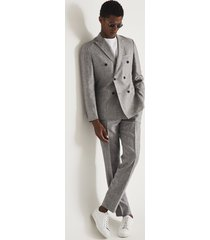 reiss cab - puppytooth check slim fit trousers in grey, mens, size 38