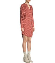 printed belted button-front dress