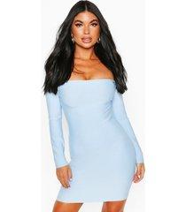 bardot-jurk met lange mouwen en bardot-print, blauw