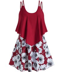 plus size ruffled floral print swim dress with briefs