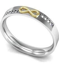 aliança de prata c/ infinito em ouro e zircônia-12
