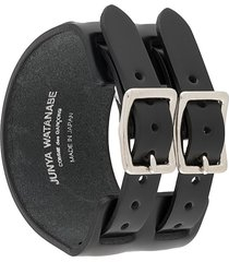 junya watanabe double-buckle leather bracelet - black