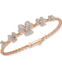 crystal flowers sterling silver bangle in 14k rose gold plated sterling bracelet