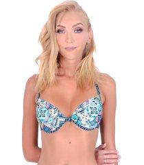 bikini estilo sostén clásico estampado azul samia