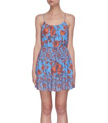 cheyla' floral print sleeveless panelled drawstring mini dress