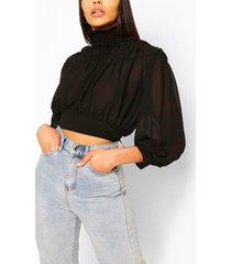 high neck shirred woven blouse, black