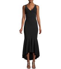 embellished scuba high-low midi dress
