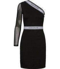 asymm milano logo fitted dress korte jurk zwart calvin klein jeans