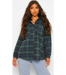tall extreme oversized flannel shirt, green
