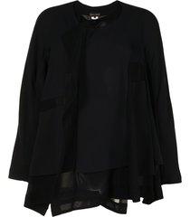 comme des garçons sheer-panelled jacket - black