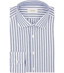 camicia da uomo su misura, canclini, cotone rigato blu, quattro stagioni | lanieri