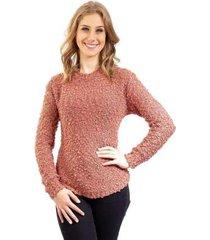 blusa feminina de malha gola redonda sumaré 31078 - feminino