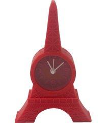 relã³gio de mesa torre eiffel emborrachado vermelho 12x8x2cm - preto - dafiti