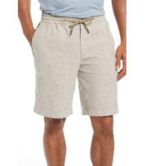 men's nordstrom men's shop stretch linen & cotton blend shorts, size x-large - brown