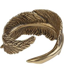 18k matte gold feather ring