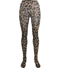 junya watanabe leopard-print high-waisted tights - brown