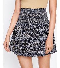 loft shimmer stripe smocked pull on skirt