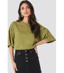 na-kd basic oversized boxy t-shirt - green