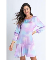 camisola acuo de cetim com babado doce nuvem feminina