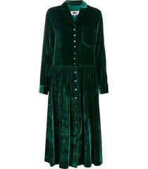 mm6 maison margiela velvet shirt dress - green