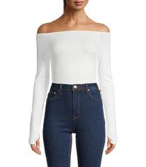 alice + olivia women's zadie off-the-shoulder bodysuit - off white - size xs