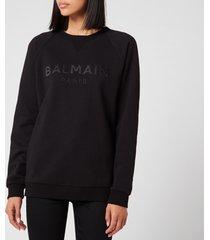 balmain women's satin logo sweatshirt - black - xl