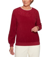 alfred dunner petite classics embroidered embellished top