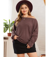 plus size brown boat neck long sleeves sweater
