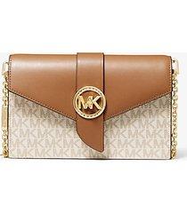 mk borsa a tracolla media convertibile in pelle con logo - vaniglia/ghianda (naturale) - michael kors