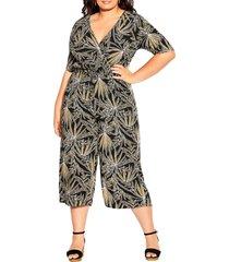 plus size women's city chic etch frond crop wide leg jumpsuit, size x-large - black