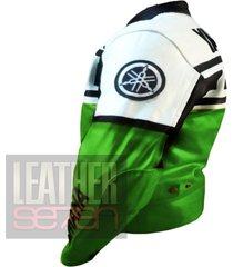yamaha 6728 green leather motorcycle motorbike pure genuine cowhide jacket coat