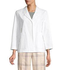 lafayette 148 new york women's layken notch lapel jacket - white - size xs