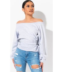akira matcha latte off shoulder corset sweatshirt top