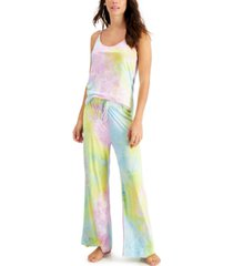 jenni tie-dyed cami & pants loungewear set, created for macy's