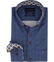 blauw overhemd portofino visgraat regular fit