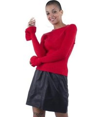 blusa pop me tricô lurex babado punho feminina