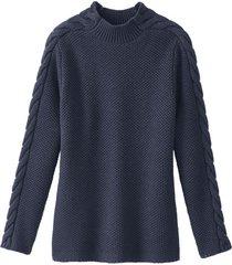 pullover uit bio-merino/katoenmix met staande kraag, nachtblauw 44/46
