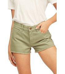 women's billabong drift away cutoff denim shorts, size 27 - green
